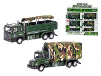 Auto vojenské 15 cm kov spätný chod na batérie so svetlom a zvukom - mix variantov či farieb