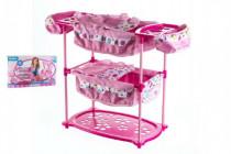 Sada pro panenky dvojčata kočárek 60(v)x30(š)x43(h)+ postýlka + židlička plast/kov Hauck