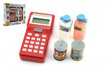 Ručné pokladňa so skenerom + potraviny plast na batérie v krabici 25x22 cm