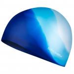 Spokey Abstract plavecká čiapka silikónová modrá s bielym v zadu - VÝPREDAJ