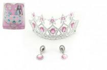 Sada princezna korunka + náušnice plast karneval - mix barev
