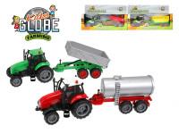 Traktor kov na setrvačník s vlečkou na baterie se světlem a zvukem - mix variant či barev