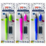 Modern set školské pero, 2 bombičky v blistri zelenej / modrej / ružové