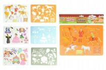 Kresliace šablóny kone plast 27x19cm - mix variantov či farieb