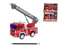 Auto hasičské 19 cm na setrvačník na baterie se světlem a zvukem - mix variant či barev