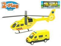 Záchranársky set helikoptéra 16 cm + sanitka 8 cm 2-Play
