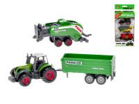 Traktor kov 8 cm s vlečkami 2 ks voľný chod - mix variantov či farieb