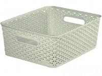 "box úložný RATTAN 35x30x13cm (M), ""Y"" STYLE, plastový, KRÉM"