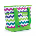 Spokey ACAPULCO Plážová termo taška malá zelená zigzag 39 x 15 x 27 cm