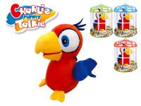 Charlie papoušek plyšový 15 cm na baterie opakující slova v kleci