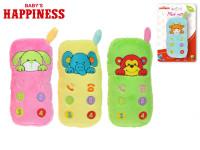 Hrkálka plyšové telefón 12 cm sa zvieratkom Baby \ 's Happiness - mix farieb