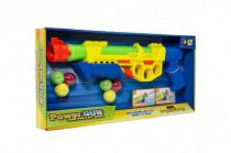 Pistole vodní stříkací pumpa+měkké míčky 6ks plast 45cm 2 barvy