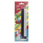 Set 4 trojhranné ceruzky s gumou HB a strúhadlo