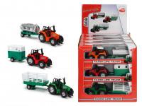 Traktor kovový s přívěsem 18 cm - mix variant či barev