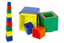 Kubus pyramida skládanka hranatá plast 12m+ - mix barev