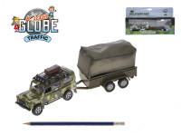 Auto vojenské Land Rover kov 14,5cm so zvukom a so svetlom na spätný chod