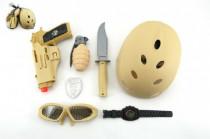 Vojenský set s helmou / prilbou plast
