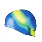 Spokey Abstract plavecká čiapka silikónová modrá so žltým pruhom