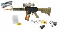 Puška pistole plast 68cm na vodní kuličky M16 s doplňky na baterie