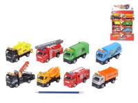 Auto nákladní kov/plast 12cm na zpětné natažení - mix variant či barev