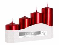 Svíčka adventní STUPŇOVITÉ metalická d5x7/9/11/13cm 4ks