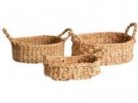 košík oválny s úchytmi strednej 31x21x9cm morská tráva