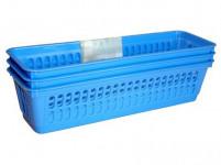košík úzky 26x8x6cm plastový (3ks) - mix farieb