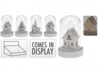 dekorácie LED vianočné 9cm sklo / drevo Bi - mix variantov či farieb