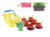 Čajový set v košíku - mix farieb