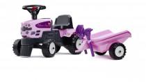Odstrkovadlo - traktor Princess s volantom a prívesom, hrablíc