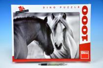 Puzzle Černobílí koně 66x47cm 1000 dílků