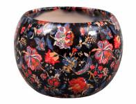 Obal na kvetináč MANES FLOWER keramický čierny lesklý d13x14cm