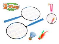 Badmintonové rakety 2ks 44x22cm + košíček + míček - mix barev