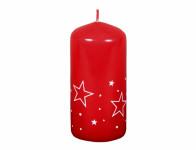 Sviečka BIELE HVIEZDY VALEC vianočné lakovaná d6x13cm