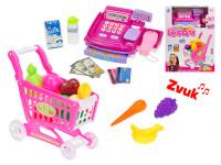 Elektronická pokladňa 21x14 cm + nákupný vozík a potraviny na batérie so zvukom