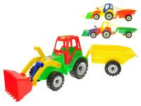 Traktor s vlečkou a nakladačom 60 cm - mix farieb