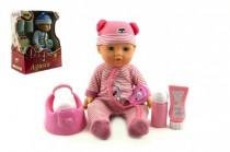 Bábika bábätko Agusia plast 27cm pevné telo pijúci cikajúci s doplnkami - mix farieb