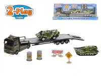 Vojenský transporter 1:60 kov s obrnenými vozidlami 2 ks 2-Play