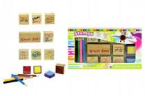 Pečiatky s poduškami + pastelky v krabičke 24x14cm
