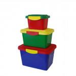 box úložný sada 3díl. (2,1+5,5+11,7 l) plastový - mix barev