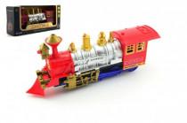 Lokomotiva/Vlak plast 28cm narážecí na baterie se světlem se zvukem