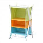 stojan na oděvy 3díl.42x38x63cm dřevo+bavlna - mix barev