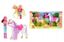 Kôň 2ks česacie s doplnkami + bábika žokejka 4ks plast