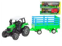 Traktor s vlečkou 22,5x5 x6,5 cm kov zpětný chod - mix variant či barev