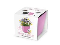 Vypestujte si JEDLÉ KVETY, darčeková sada sa samozavlažovacím kvetináčom, RUŽOVÝ 13x13 CM, Domestic
