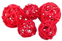 Dekorace - Lata Ball 4 cm - červený 4 ks