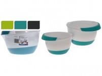 misa šľahacia sada 2díl. 18,22cm (2l, 3,5l) plastová, s gumou - mix farieb