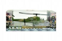 Helikoptéra vojenská plast 18cm na batérie so svetlom so zvukom - mix farieb