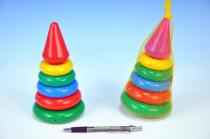 Skládanka pyramida s kroužky malá plast 18cm v síťce 12m+