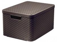box úložný RATTAN 44,5x33x25cm (L) s vekom, STYLE2, plastový, HN - VÝPREDAJ